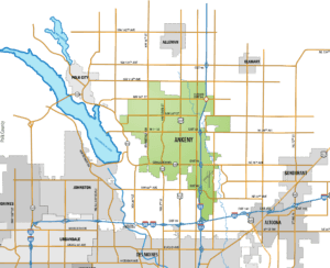 A map of the Ankeny metro area.