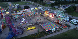 A picture of the rides and carnival at Ankeny SummerFest taken by a drone.
