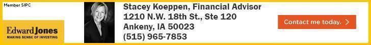Ad for Stacey Koeppen, an Edward Jones Financial Advisor.